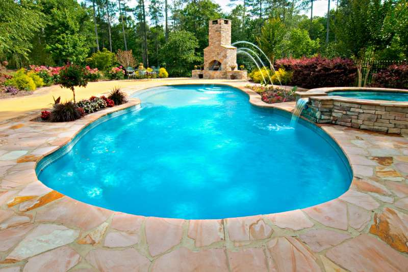 Commercial photography featuring an outdoor swimming pool for a hardscape company.