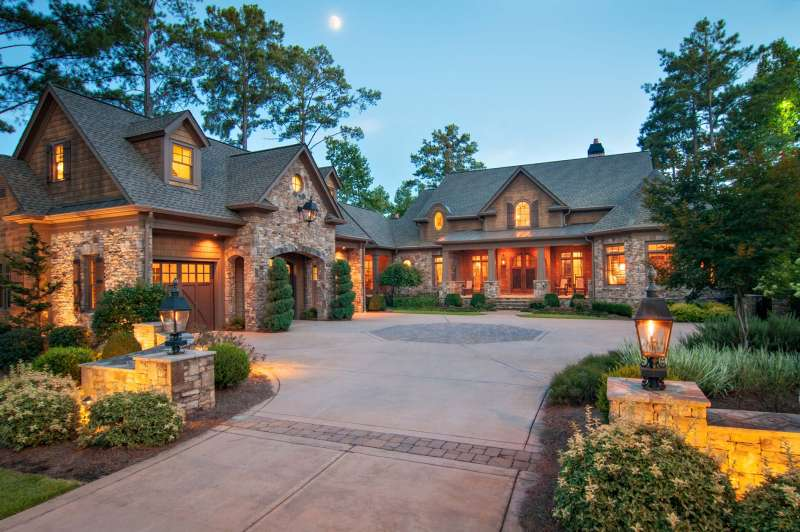 Real Estate photography of a gorgeous home exterior at dusk.