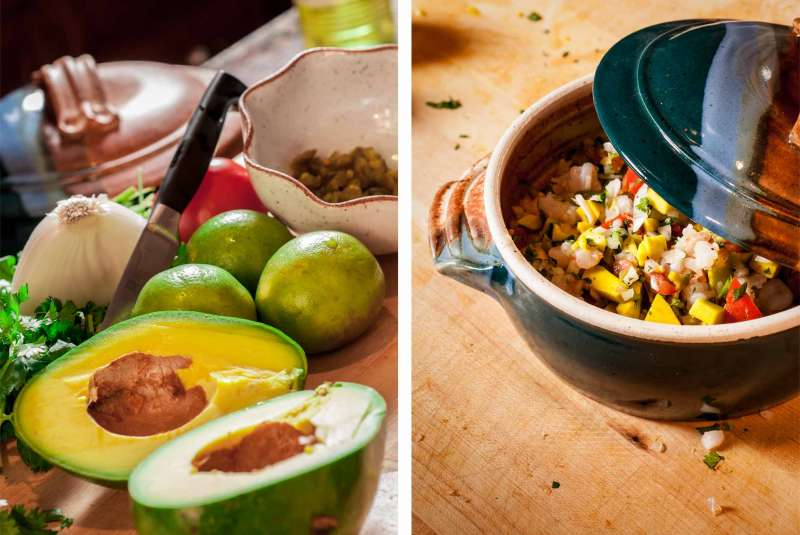 Editorial food photography showing ingredients and the finished dish of Caribbean ceviche.