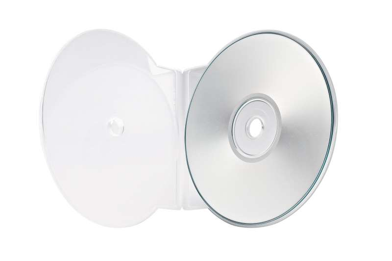 Product photography for an electronics catalog showing a frosted white DVD case with DVD on pure white background.
