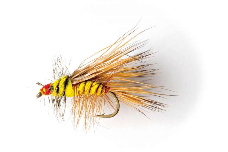 Catalog photography showing a detail image of a hand-tied fishing fly.